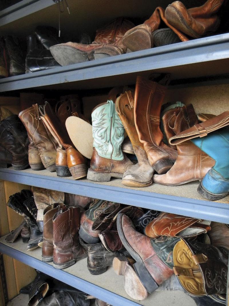 Boot closet at Circle Z Ranch