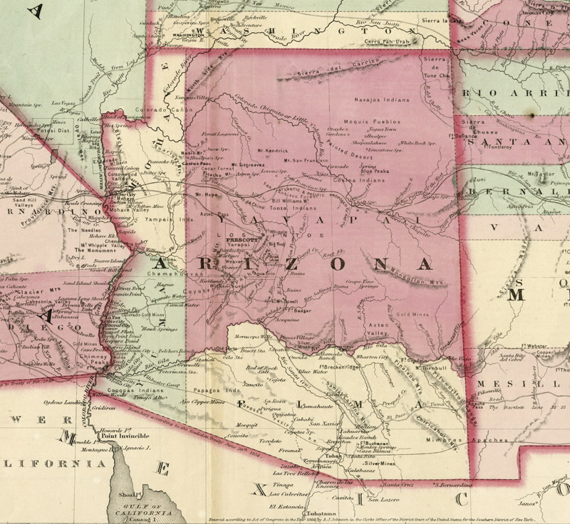 1867: Nevada absorbs Arizona's northwest corner into its borders. Arizona had protested but had no clout because it had sided with the  Confederates in the Civil War.