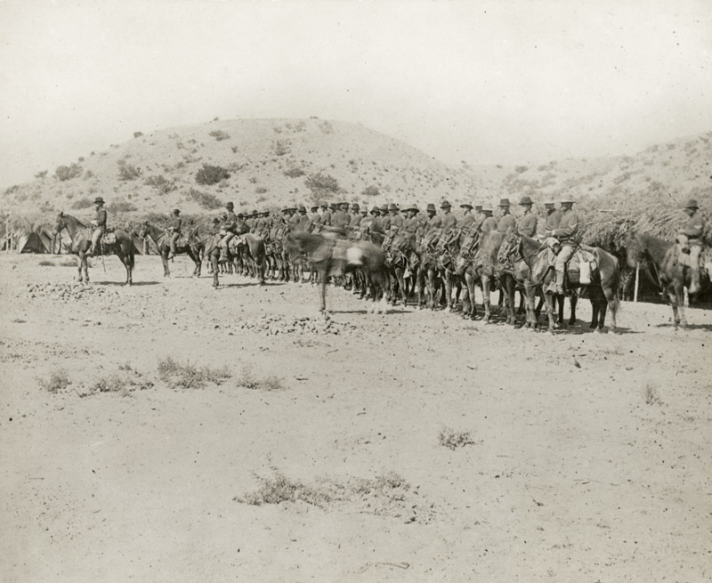 Cavalry crossing the Mexican border to quell violence in 1881