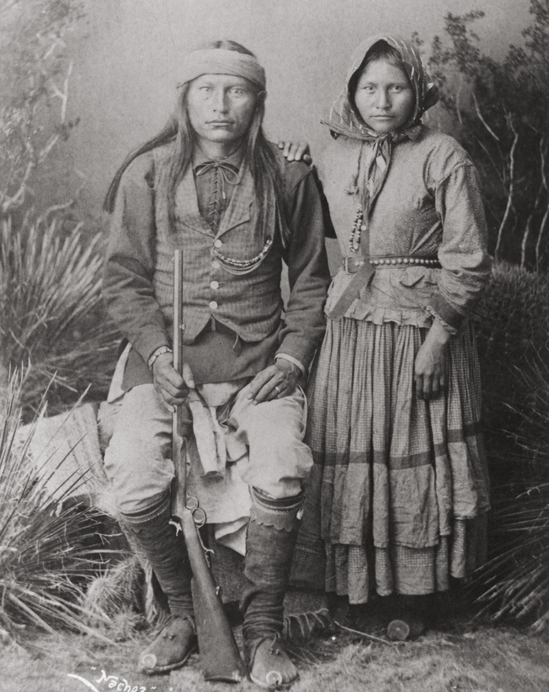 Cochise's son Naiche, last chief of the Chiricahua Apache, and his wife