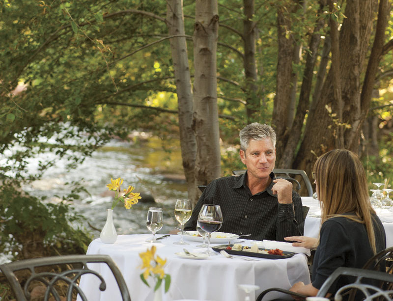 Photos by Laura Segall; Outdoor dining at L'Auberge Restaurant in Sedona
