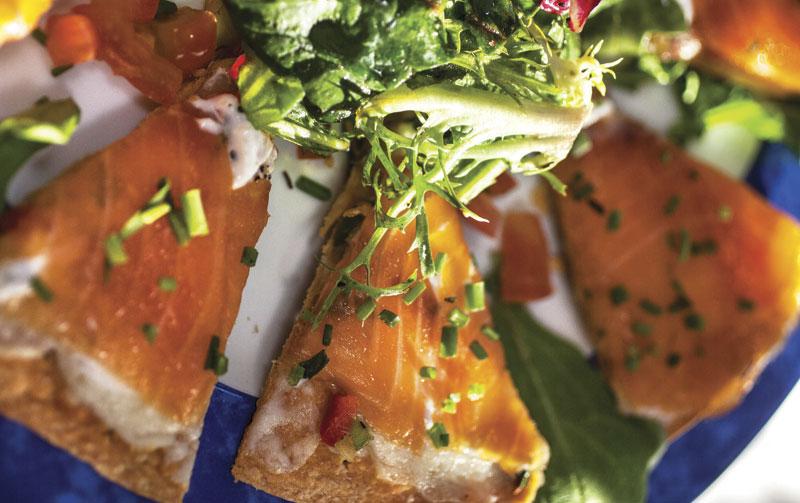 Photos by Mark Lipczynski; Smoked salmon quesadilla with horseradish cream at Vincent on Camelback