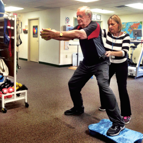 Ray with his physical therapist at CTN, Patty Briody