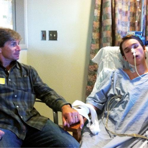 Tara's husband Kenn Francis with Dylan in ICU