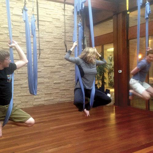 Enjoying aerial yoga