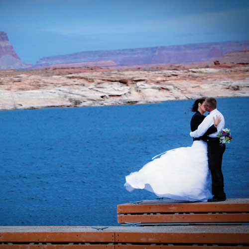 A couple of folks getting hitched on Lake Powell