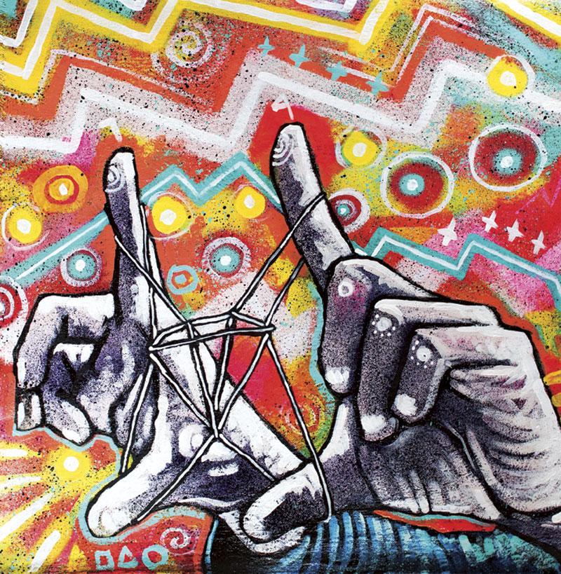 "One of the paintings in Slim's ""string games"" series"