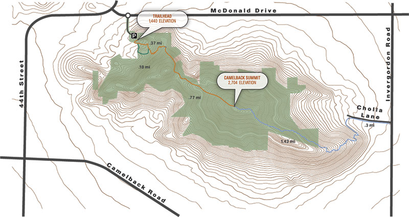 map courtesy City of Phoenix; 'Round the Mountain: This 3D map shows the current division of public and private land around Camelback Mountain (green areas are public land).
