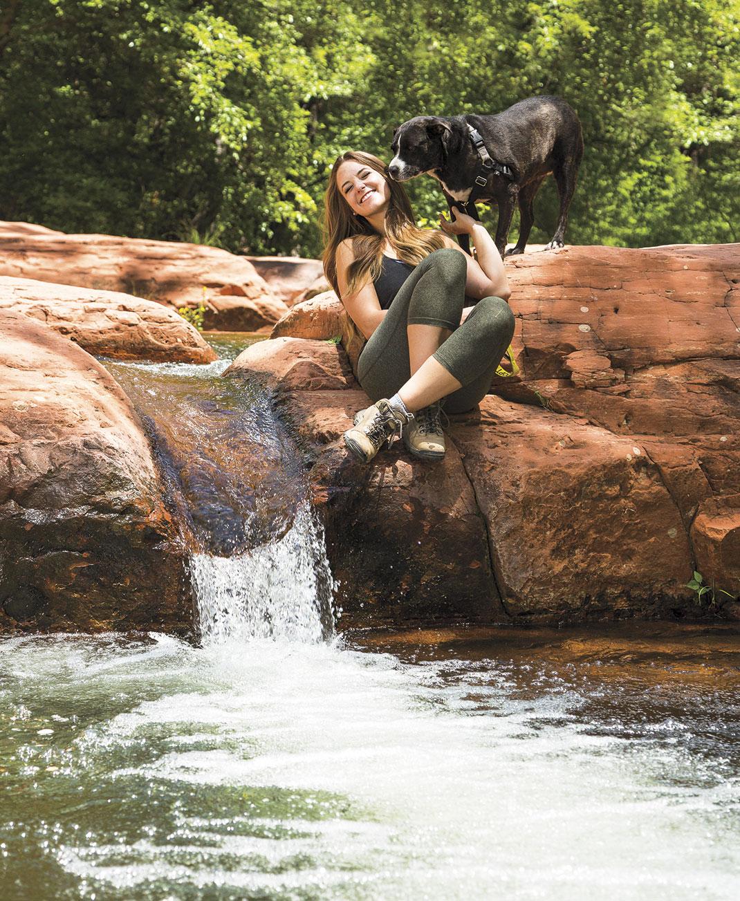 "Photo by Jim David; Melissa with ""Sally"" at the water falls at Wet Beaver Creek"