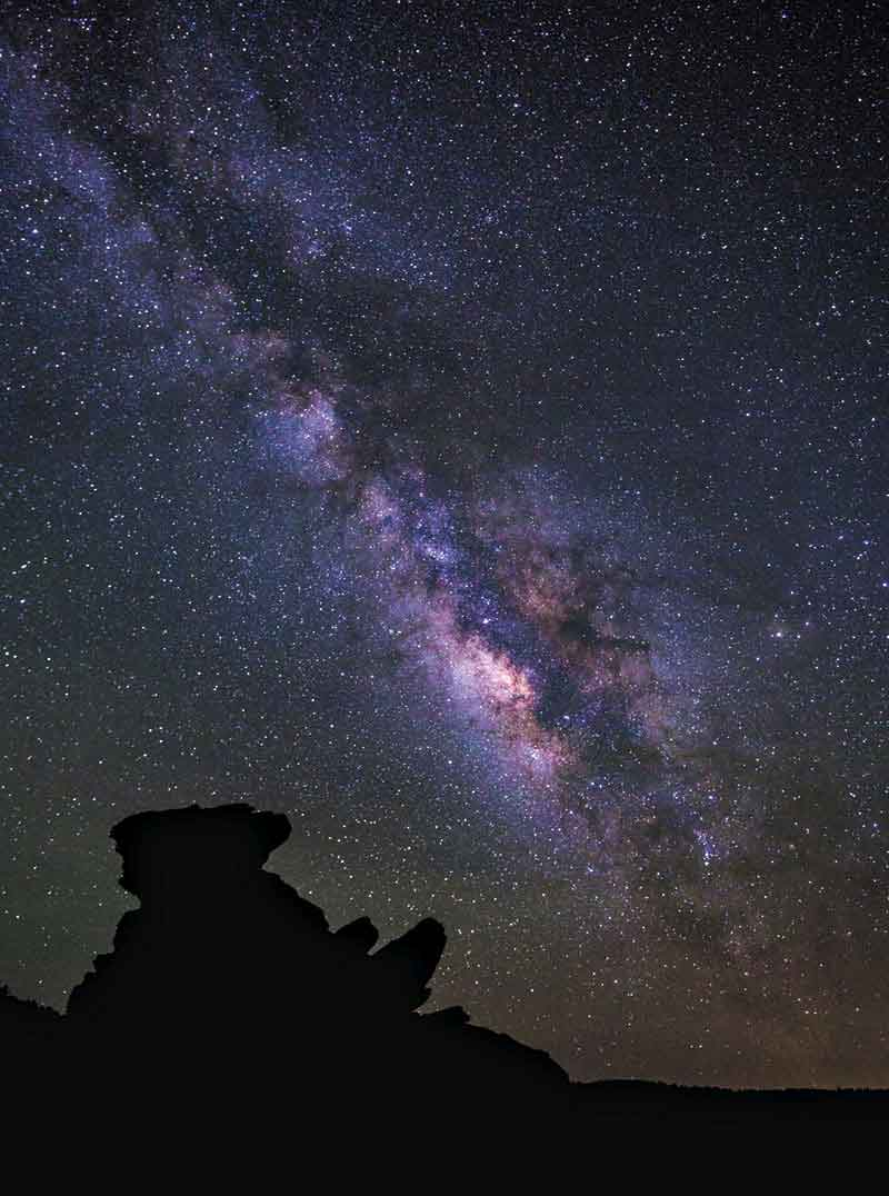 The Milky Way as seen from Chiricahua National Monument near Massai Point, during summer, which provides the broadest and best views of the Milky Way core