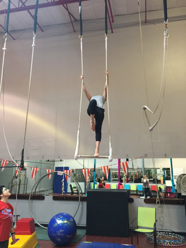 Mirelle on the trapeze.