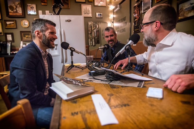 Spillers founders Robert Hoekman Jr. (back right) and Brian Dunn (front right) interview writer Matt Bell on their podcast.