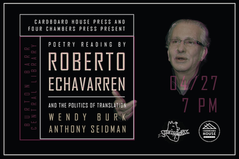 Roberto Echavarren event flyer. Photo courtesy Cardboard House Press.