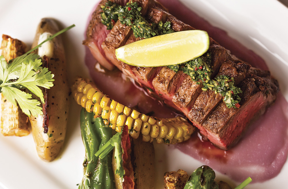 New York strip with red onion purée