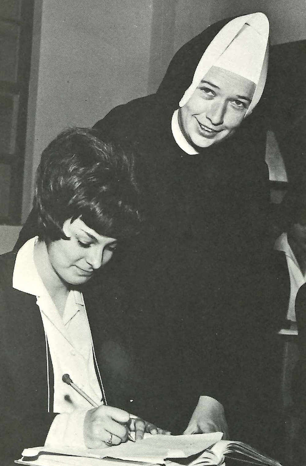 Sister Mary Joan Fitzgerald with a student in the early 1960s; Photo Courtesy BVM Sisters