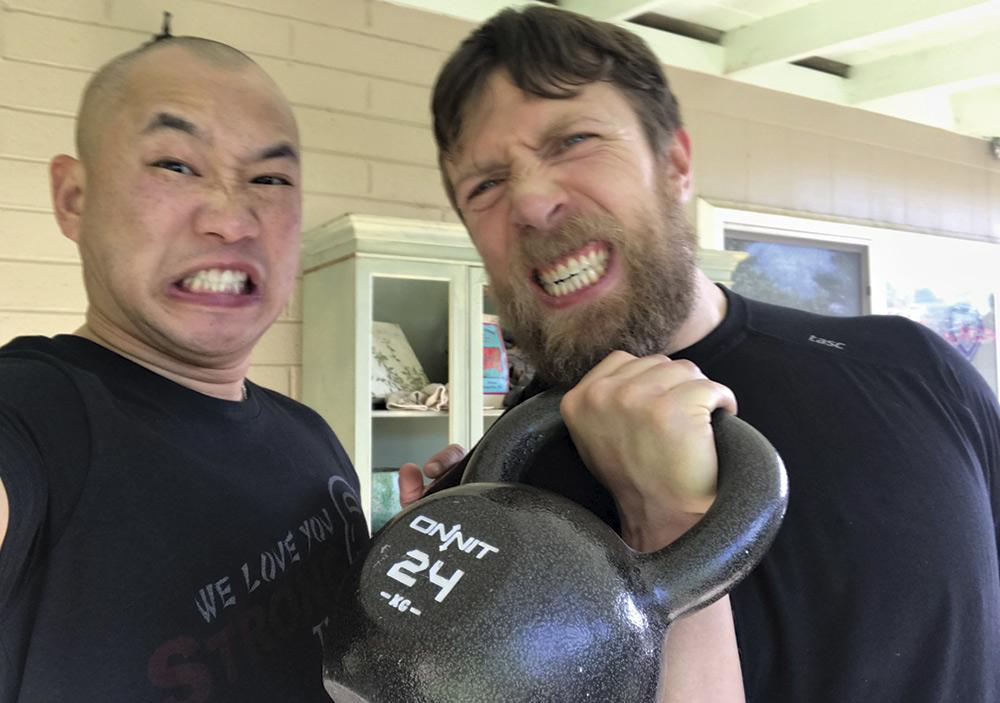 Yuan poses for a selfie with WWE star Daniel Bryan; Photo courtesy Jimmy Yaun