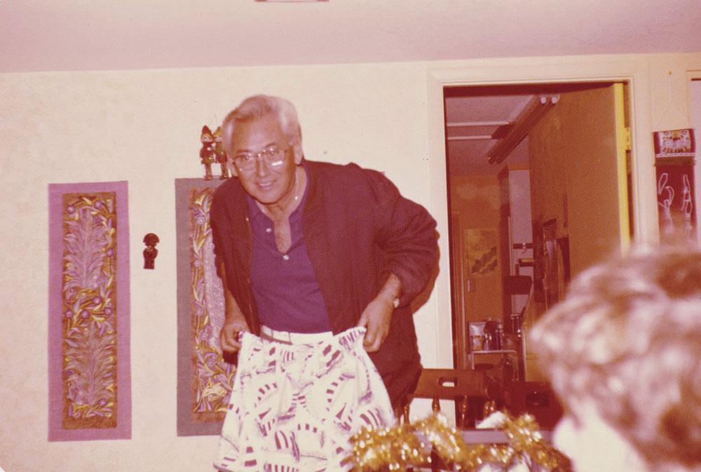 van Hengel shows off a birthday present in 1978; photo courtesy Dennis Sullivan