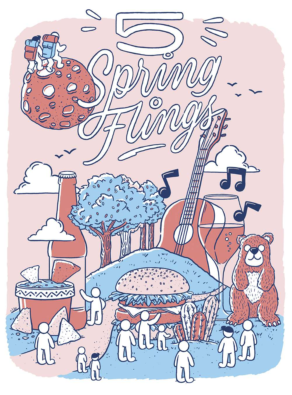 5 Spring Flings; Illustration & Handlettering by Scott Biersack