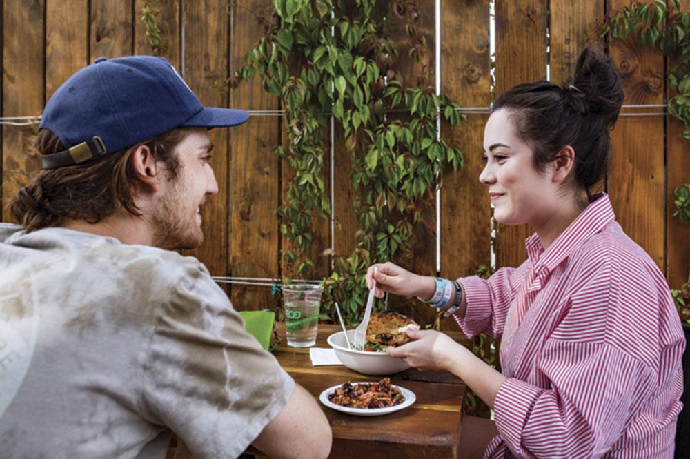 the casual patio dining scene at Pa'La