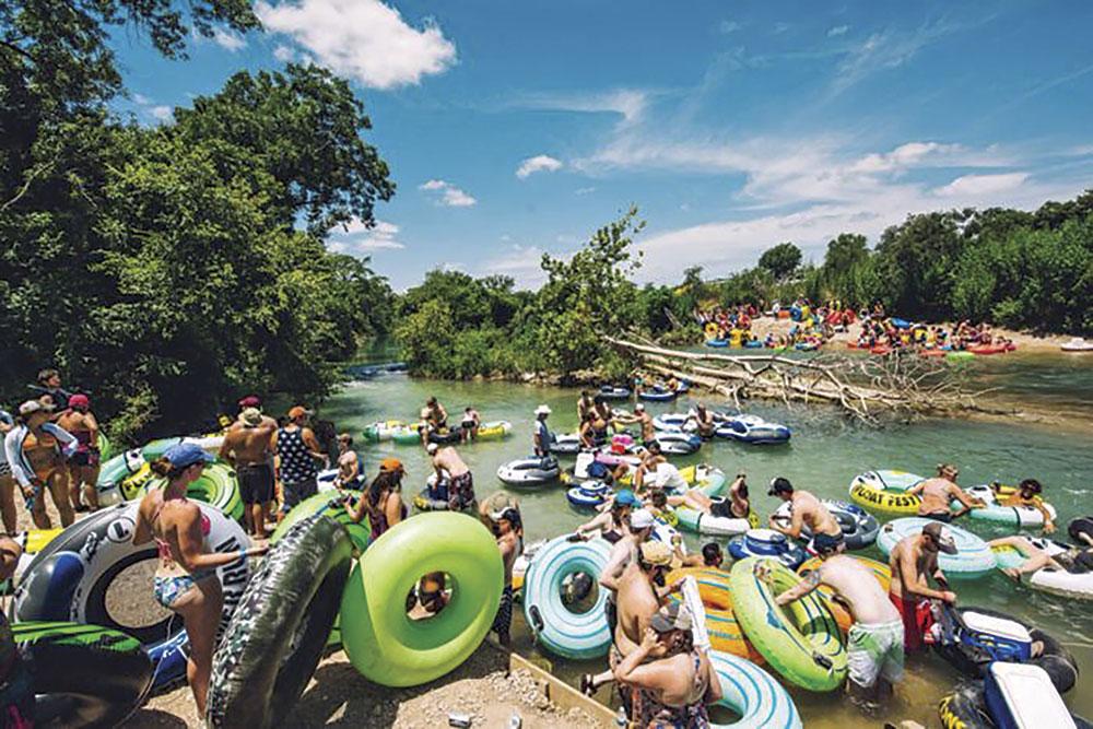 sunburnt revelers at FloatFest