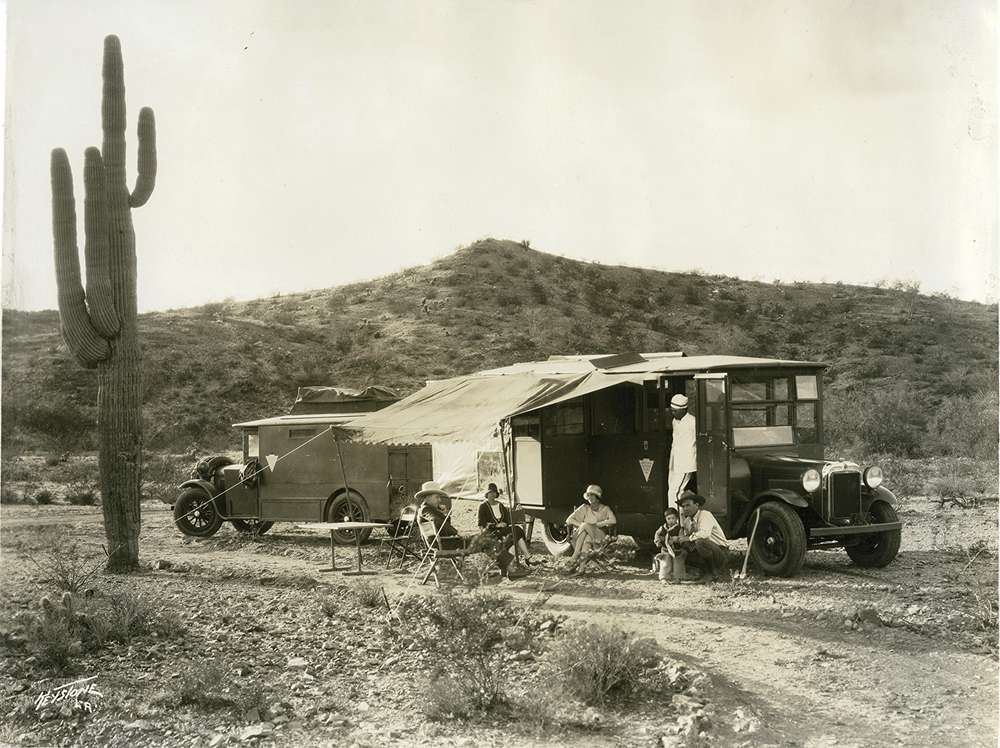 early glamping enthusiasts enjoy a Wonderbus tour organized by brothers Warren and Charles McArthur, who later founded the Arizona Biltmore, 1929; Historical photos provided by Arizona Historical Society
