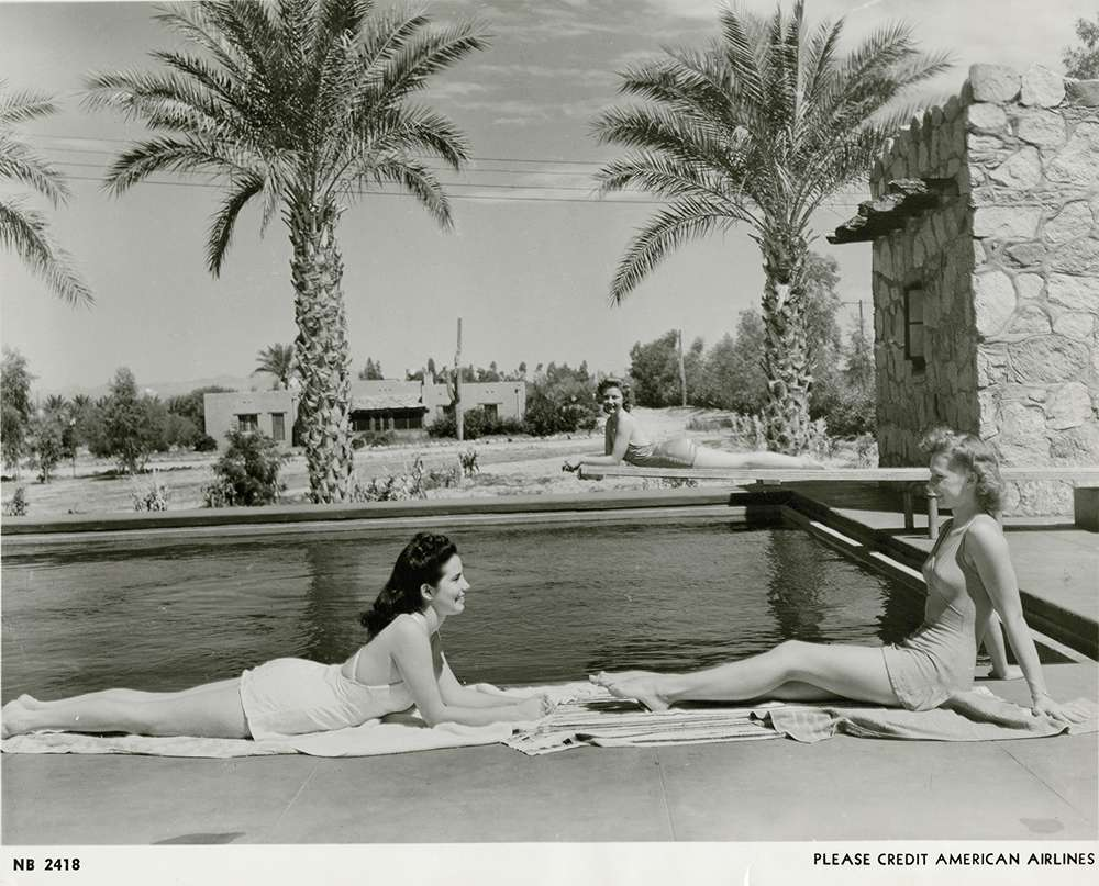 sunbathers pose at the San Marcos Hotel for an American Airlines promo, circa 1940s. Historical photos provided by Arizona Historical Society