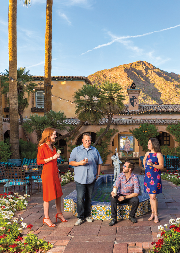 Courtyard at Royal Palms with our 40 Under 40 profilees (left to right): Lauren Bailey, Joey Hall; Thomas Kaufman and Kaylee Medansky