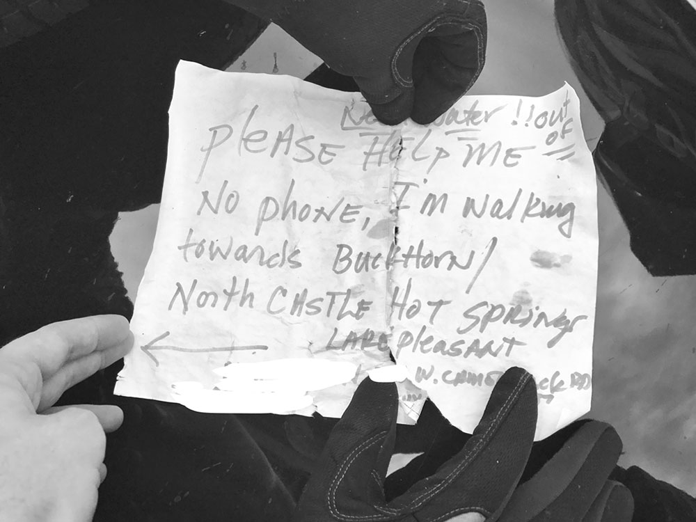 photo by Andrew Austin; Passing dirt bikers found an ominous scene left by Ohman, including a distress note