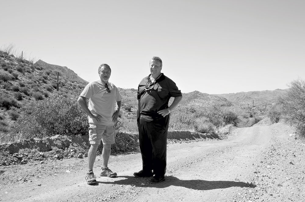 photo by Mirelle Inglefield; Ohman and Haverland revisit the spot where they met, about 22 miles northwest of the north entry station of Lake Pleasant Regional Park