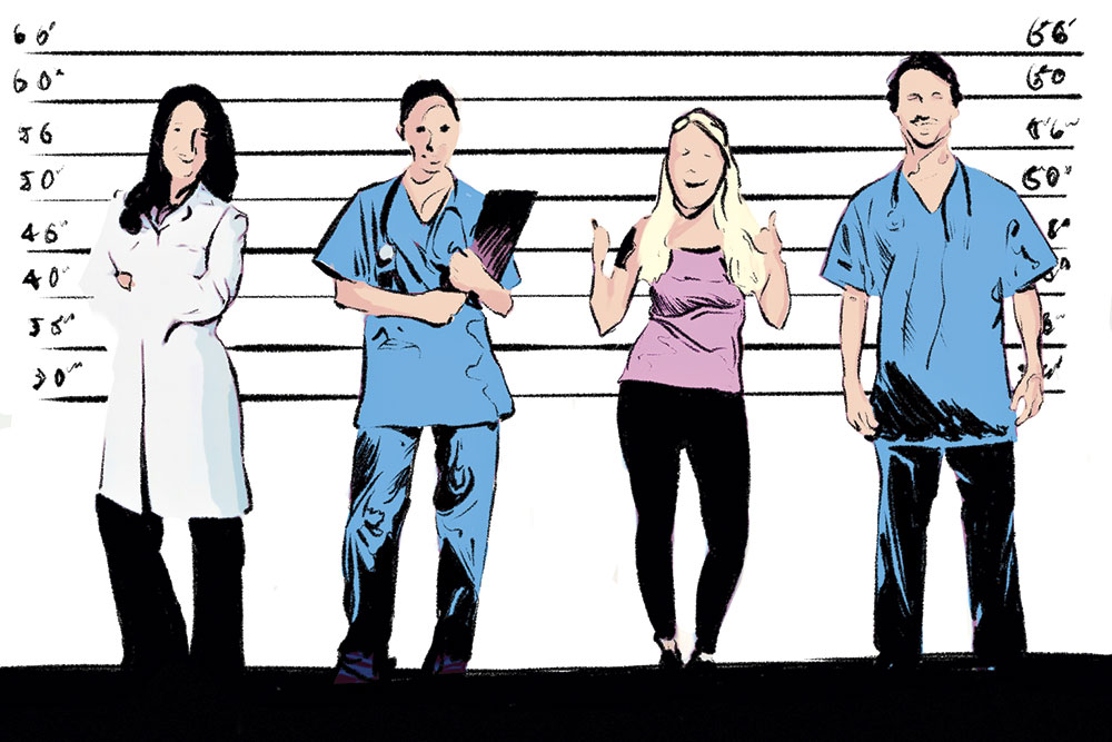 Would-be M.D. lineup - Recent fraud-doctor cases in Arizona include an unlicensed liposuction surgeon and an illicit Botox doctor. ; Illustrations by Cedric Cummings