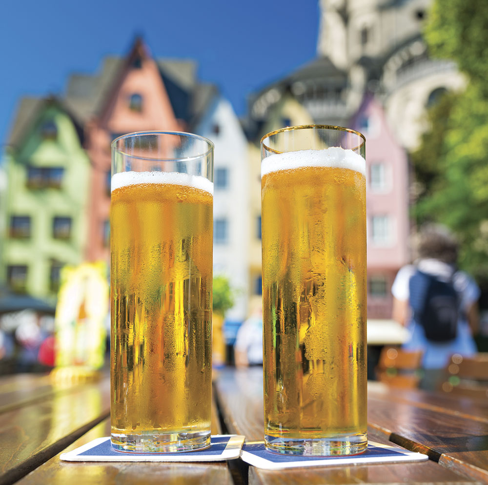 Photo courtesy stock.adobe.com; The city's signature beer, kölsch, is served in famously slim portions.