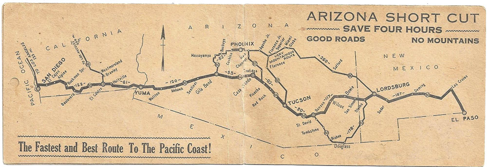 "Photo courtesy Douglas C. Towne; Map of U.S. 80's Arizona ""shortcut,"" circa 1930s"