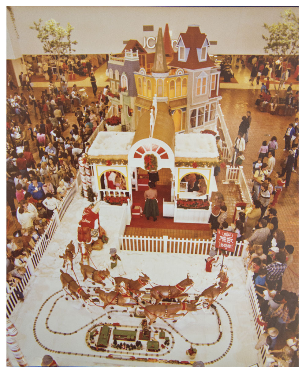 Christmas decorations at Chris-Town mall in the early '80s; Photo courtesy Grossman Company Properties