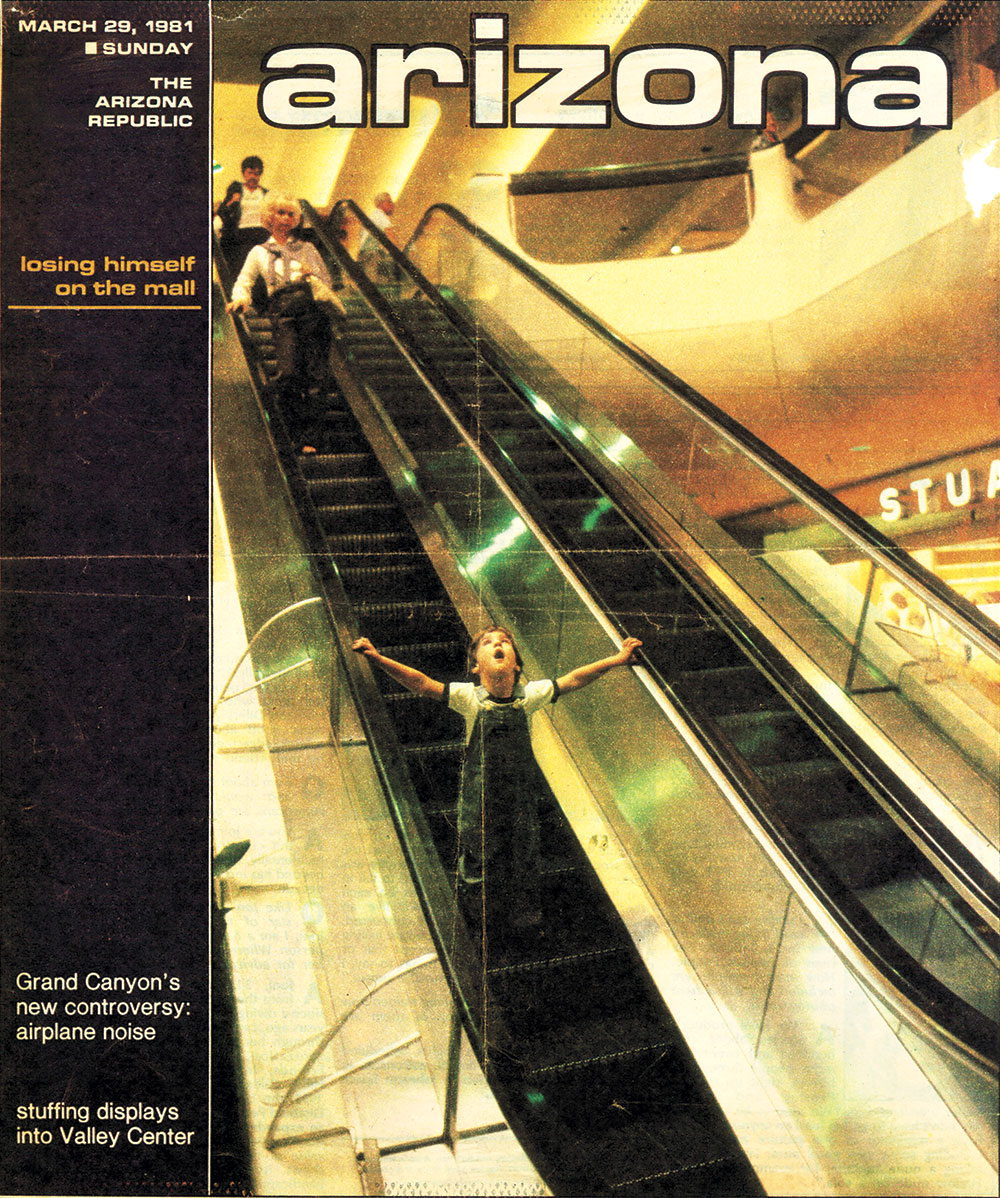 "Published by The Arizona Republic, this Arizona magazine cover from 1981 depicts a child evidently ""losing himself on the mall""; Photo courtesy Macerich"