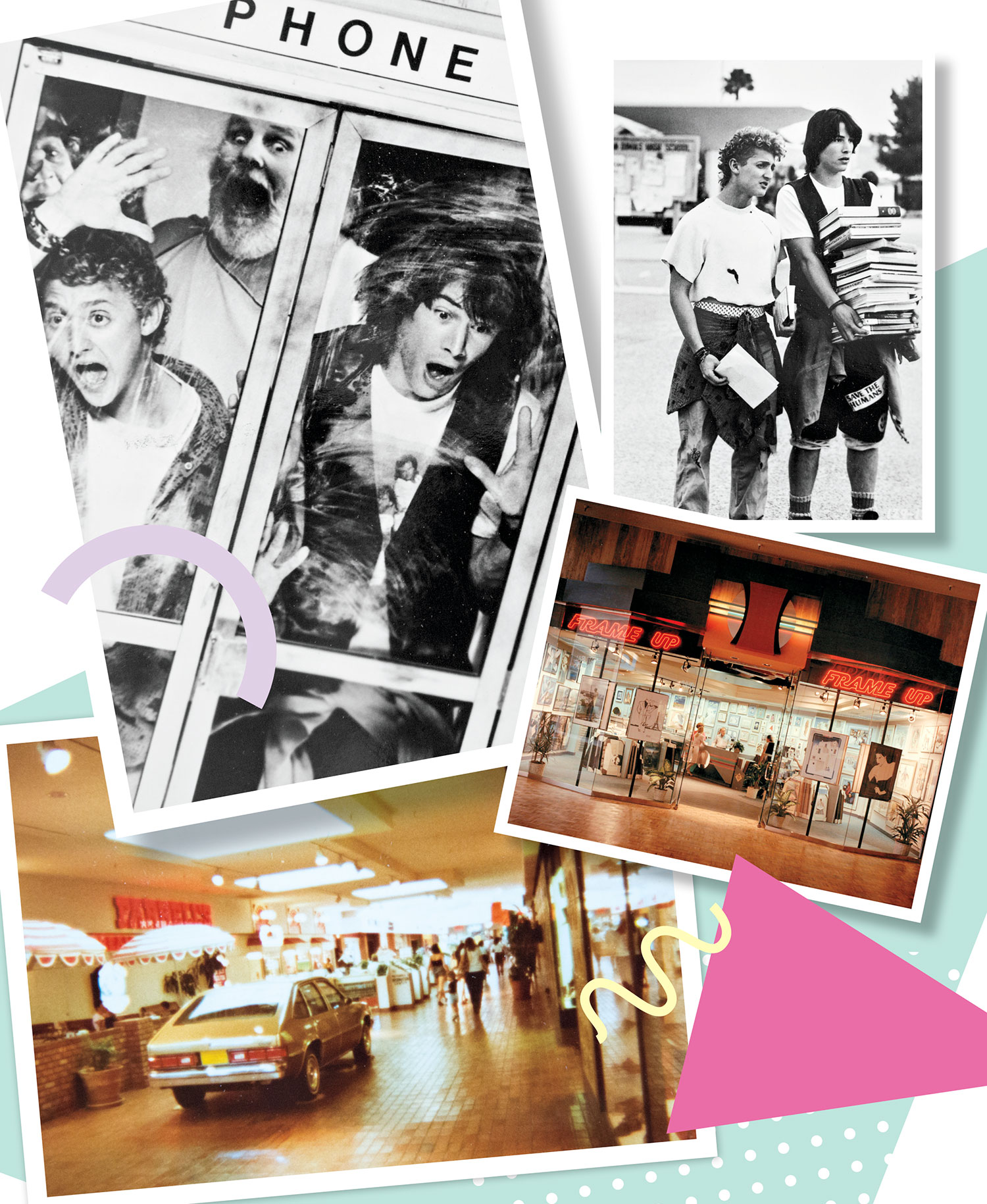 Clockwise from top left: Publicity photos of Bill and Ted's Excellent Adventure; Paradise Valley Mall Frame Up storefront, with a print by '80s icon Patrick Nagel in the window; Chevy car display in front of Farrell's Ice Cream Parlour at Chris-Town Mall; Photos courtesy Orion PIctures; Macerich; Grossman Company Properties