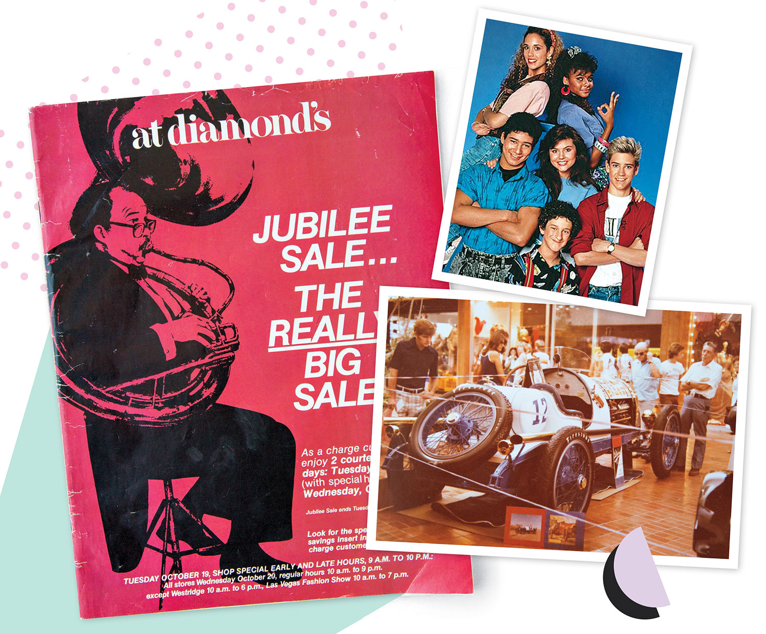 Clockwise from left: Cover of Diamond's department store catalog; publicity photo of the mall-barnstorming cast of Saved by the Bell; car show at Chris-Town Mall circa early '80s; Photos courtesy dawson Fearnow; Peter Engel Productions/NBC; Grossman Company Properties