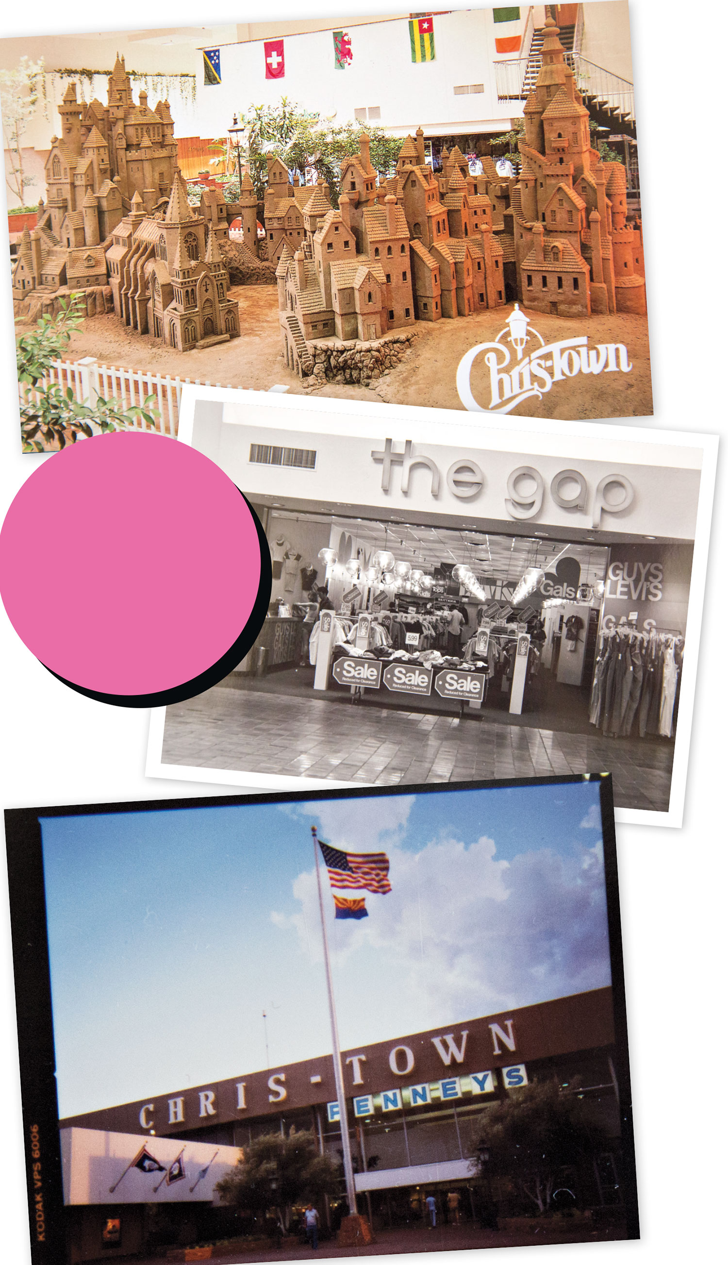 From top: sandcastle display at Chris-Town; mall mainstay The Gap; exterior of Chris-Town Mall, circa mid '80s; Photos courtesy Grossman Company Properties; billandted.org
