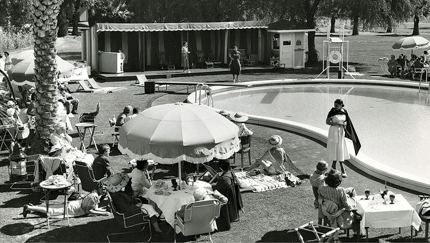 fashion show at the pool circa 1930s