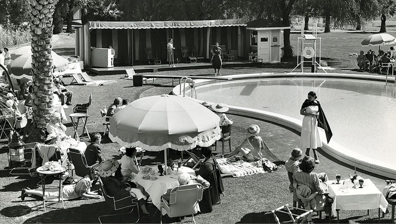 fashion show at the pool circa 1930s