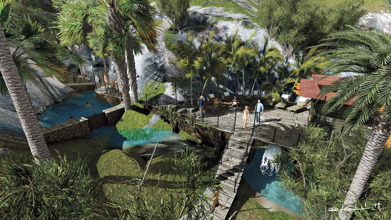 A rendering of the new hot springs soaking pools and cabana; photo by Edwards Design Group