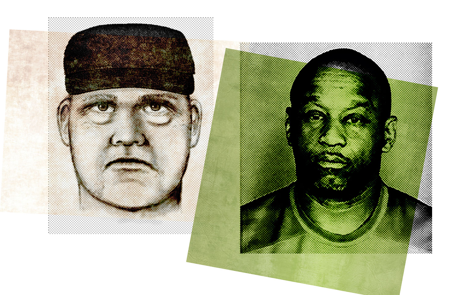 Sketchy likeness: The original police sketch of Jones differed wildly from his 2009 booking photo, right; Photos courtesy Phoenix P.D.; Scottsdale P.D.