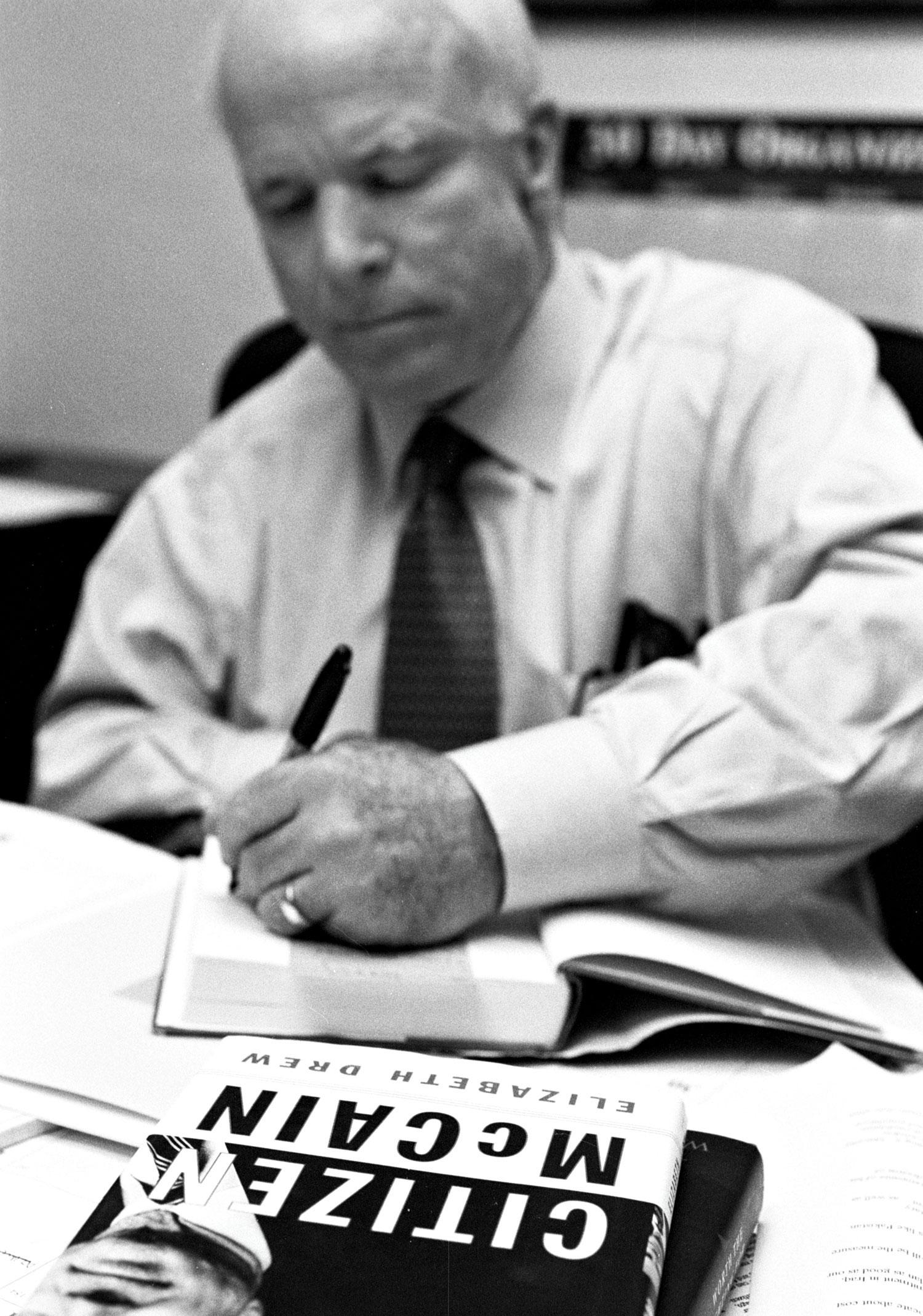 The senator during a 2003 PHOENIX magazine shoot coinciding with the release of his 2002 memoir Citizen McCain
