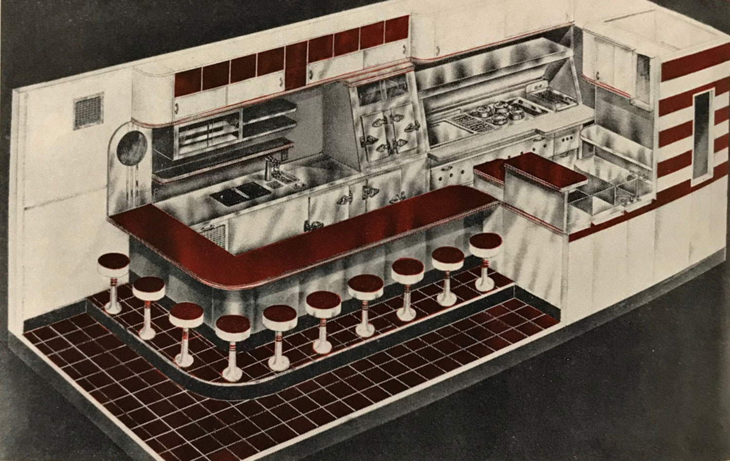 A 10-stool Little Chef diner, 1940s