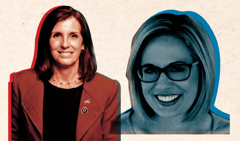 "U.S. Representative Martha ""I'm Really Quite Right-Wing"" McSally (R) and U.S. Representative Kyrsten ""Aisle Cat"" Sinema (D)"