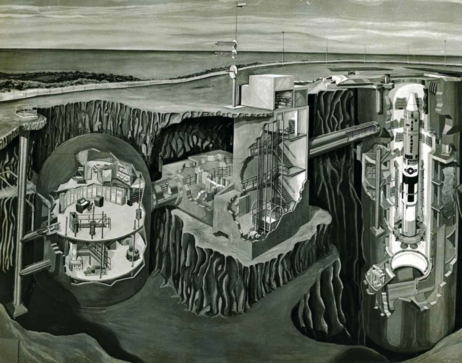 illustration of a Titan II underground facility (left to right): launch control center, access portal and missile silo, 1960s
