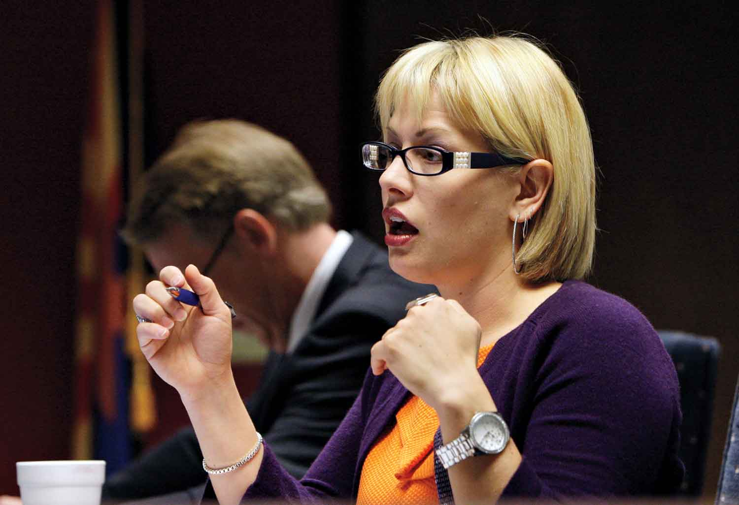 Sinema at a state senate Immigration enforcement hearing in 2010; Photo Courtesy AP Images