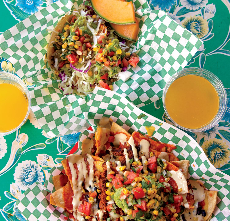 Poco's quesadilla tacos, nachos and mango mimosas; photo by Christianna Silva