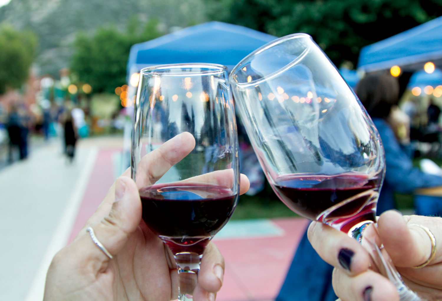 a wine toast at A Taste of Bisbee; photo by Christianna Silva