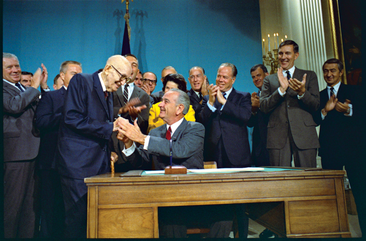 President Lyndon B. Johnson signs the Colorado River Basin Project Act into law on Sept. 30, 1968; photo courtesy the CAP