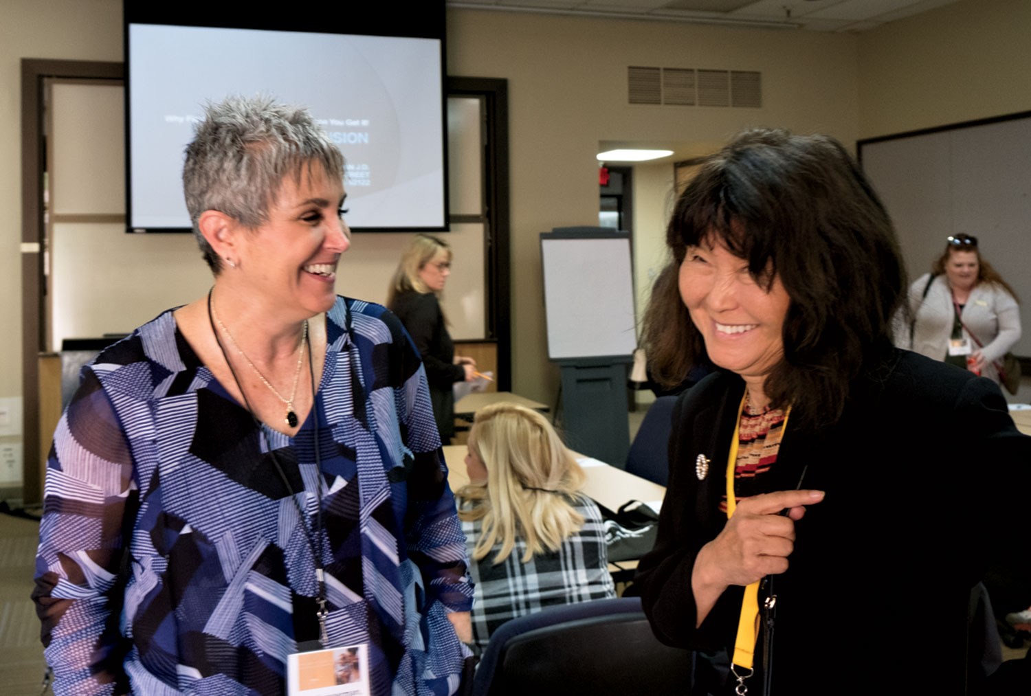 Special-education attorneys Amy Langerman (left) and Susan Marks at a conference of The Arc of Arizona in November 2018.
